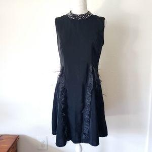 Designer Black Ruffle Feather Dress Studded Mock L